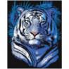 Тигр в голубых оттенках 100х125 Раскраска картина по номерам на холсте