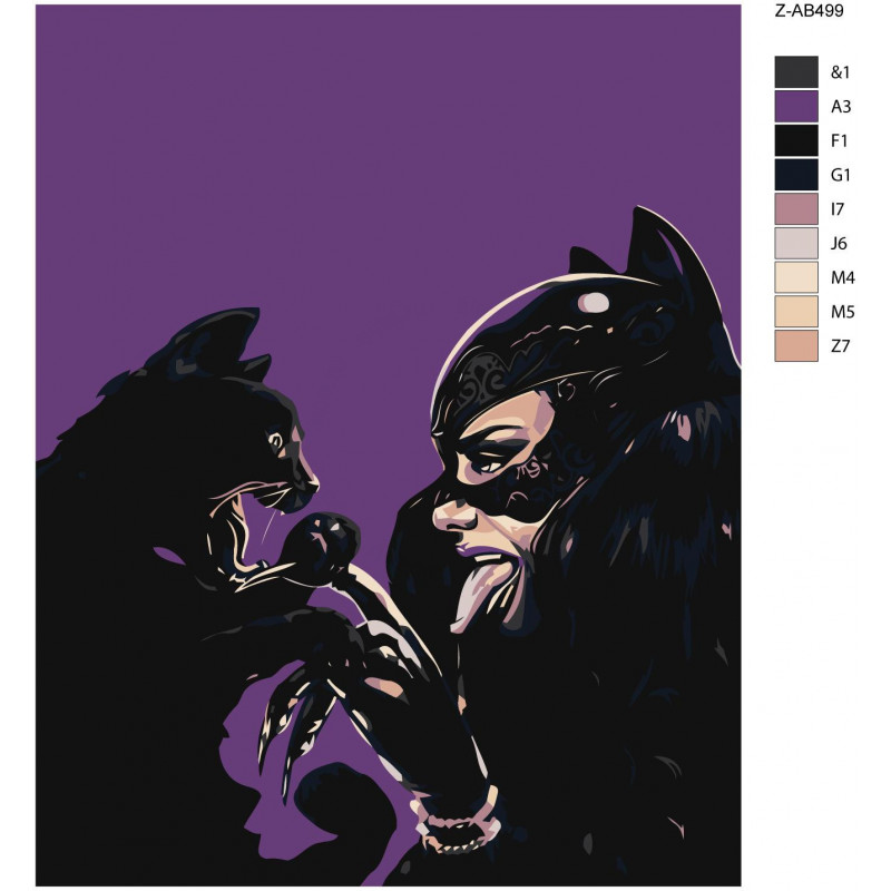 Кошка и женщина-кошка 80х100 Раскраска картина по номерам ...