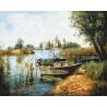 Лодка у берега Раскраска картина по номерам на холсте