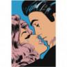 Поцелуй поп-арт 80х120 Раскраска картина по номерам на холсте