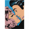 Поцелуй поп-арт 100х150 Раскраска картина по номерам на холсте