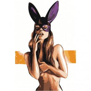 Обнаженная девушка в маске зайчика 80х120 Раскраска картина по номерам на холсте