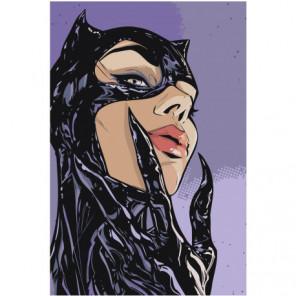 Женщина кошка 100х150 Раскраска картина по номерам на холсте