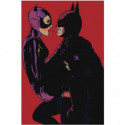 Бэтмен и женщина кошка любовь Раскраска картина по номерам на холсте