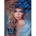 Бабочки в волосах Алмазная мозаика на подрамнике LE109
