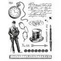 Джентельмен и часы Набор прозрачных штампов для скрапбукинга, кардмейкинга Viva Decor