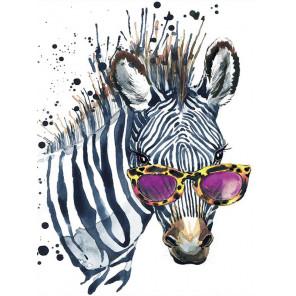 Зебра в очках Алмазная мозаика на подрамнике LE112