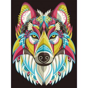Радужный волк Алмазная мозаика на подрамнике LE103