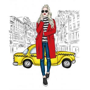 Девушка и такси Алмазная мозаика на подрамнике LG216
