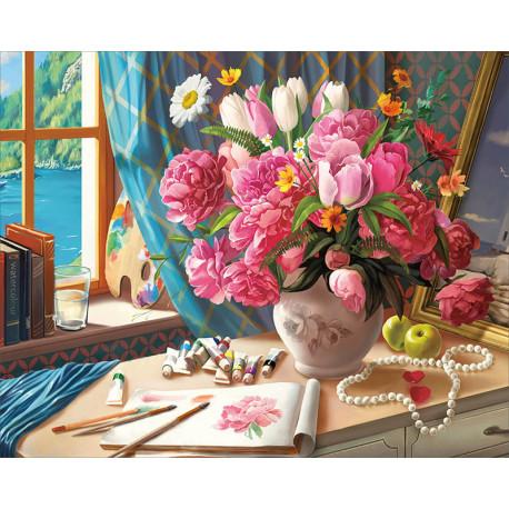 Рабочий стол художника Алмазная мозаика на подрамнике LG218