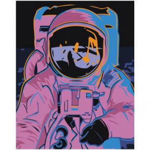 Космонавт 80х100 Раскраска картина по номерам на холсте