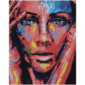 Лицо радужной девушки 80х100 Раскраска картина по номерам на холсте
