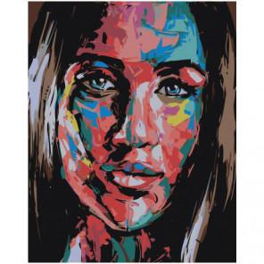 Радужное лицо девушки Раскраска картина по номерам на холсте