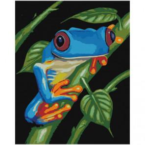Синяя лягушка 100х125 Раскраска картина по номерам на холсте