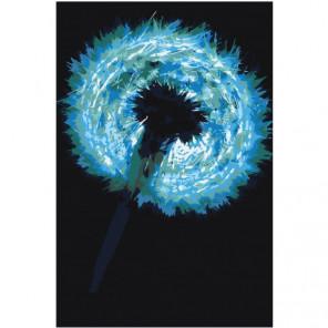 Одуванчик в синих тонах 100х150 Раскраска картина по номерам на холсте