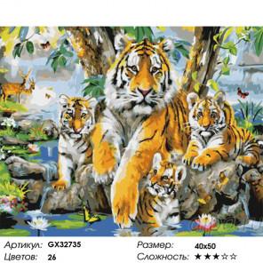 Сложность и количество цветов Тигриное семейство Раскраска картина по номерам на холсте GX32735