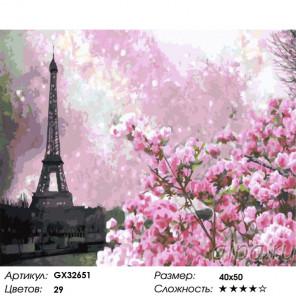 Сложность и количество цветов Весенний Париж Раскраска картина по номерам на холсте GX32651