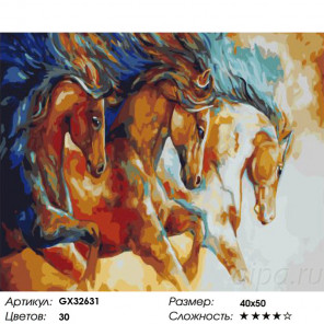 Сложность и количество цветов Тройка ретивых лошадей Раскраска картина по номерам на холсте GX32631