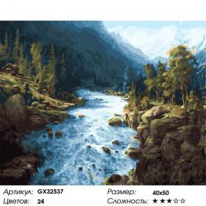 Сложность и количество цветов Сила горной реки Раскраска картина по номерам на холсте GX32537