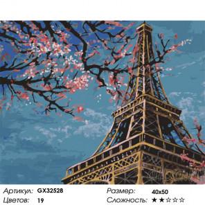 Сложность и количество цветов Эйфелева башня весной Раскраска картина по номерам на холсте GX32528