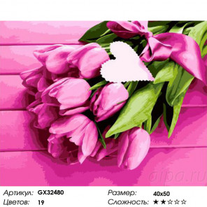 Сложность и количество цветов Тюльпаны с любовью Раскраска картина по номерам на холсте GX32480