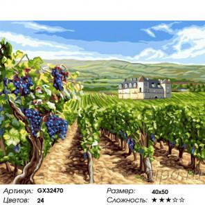 Сложность и количество цветов Виноградные поля Раскраска картина по номерам на холсте GX32470