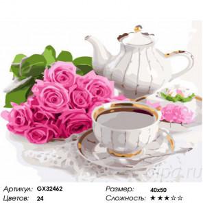 Сложность и количество цветов Чайный набор Раскраска картина по номерам на холсте GX32462