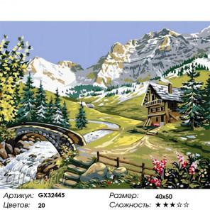 Сложность и количество цветов Домик на альпийских лугах Раскраска картина по номерам на холсте GX32445