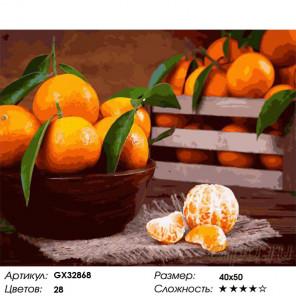 Сложность и количество цветов Аромат мандаринов Раскраска картина по номерам на холсте GX32868