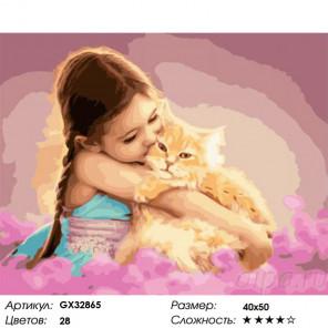 Сложность и количество цветов Пушистый котик и девочка Раскраска картина по номерам на холсте GX32865