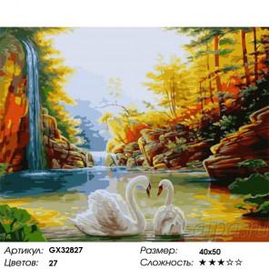 Сложность и количество цветов Пара лебедей у осеннего водопада Раскраска картина по номерам на холсте GX32827