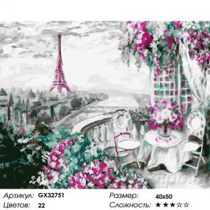 Сложность и количество цветов Парижский балкончик Раскраска картина по номерам на холсте GX32751