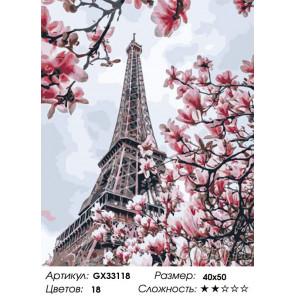 Сложность и количество цветов Цветущий Париж Раскраска картина по номерам на холсте GX33118