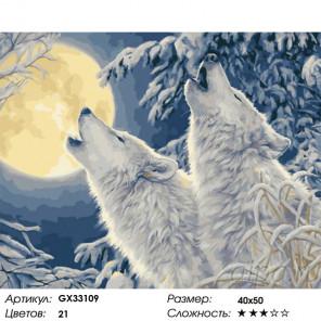 Сложность и количество цветов Волчий вой в зимнем лесу Раскраска картина по номерам на холсте GX33109