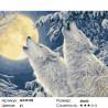 Волчий вой в зимнем лесу Раскраска картина по номерам на холсте