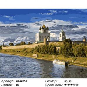Сложность и количество цветов Монастырь на берегу реки Раскраска картина по номерам на холсте GX32943