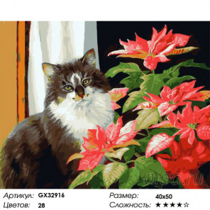 Сложность и количество цветов Кот и цветок Раскраска картина по номерам на холсте GX32916