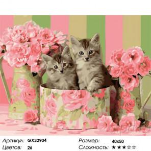 Сложность и количество цветов Коробка с котятами Раскраска картина по номерам на холсте GX32904