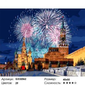 Завораживающий салют на Красной площади Раскраска картина по номерам на холсте GX32062