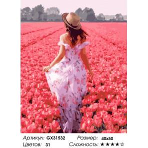 Сложность и количество цветов Прогулка по тюльпановому полю Раскраска картина по номерам на холсте GX31532
