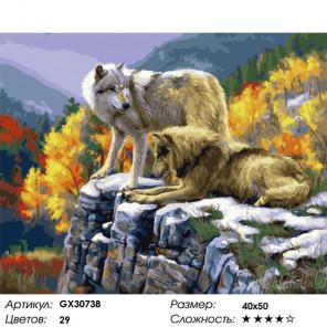 Сложность и количество цветов Волки в осеннем лесу Раскраска картина по номерам на холсте GX30738