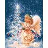 Ангелок у елки Раскраска картина по номерам на холсте GX22627
