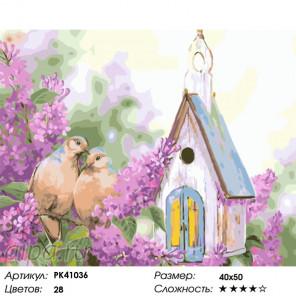 Сложность и количество красок Скворечник у сирени Раскраска картина по номерам на холсте PK41036