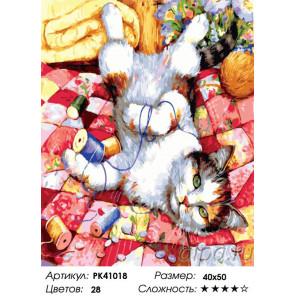 Сложность и количество красок Игривый котик Раскраска картина по номерам на холсте PK41018