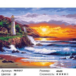 Сложность и количество красок Закат у маяка Раскраска картина по номерам на холсте PK41017