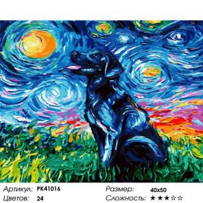 Сложность и количество красок Вечерний пёс Раскраска картина по номерам на холсте PK41016