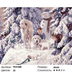 Сложность и количество цветов Веселое зимнее утро Раскраска картина по номерам на холсте PK41088