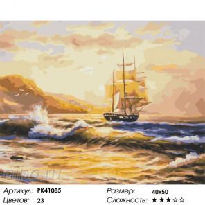 Сложность и количество цветов Парусник на рассвете Раскраска картина по номерам на холсте PK41085