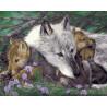 Заботливая волчица Раскраска картина по номерам на холсте
