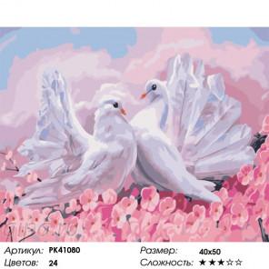 Сложность и количество цветов Воркующие голуби Раскраска картина по номерам на холсте PK41080